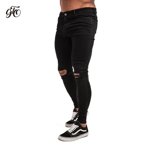 Skinny Ripped Jeans Tight Middle Waist Fashion Streetwear Style Denim  Jeans