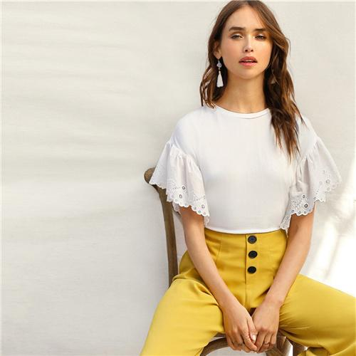 White Scalloped Embroidered Eyelet Cuff Tee Boho T Shirt Women Summer Drop Flared Sleeve Office Lady Solid T-shirts Top