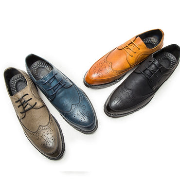 Leather Shoes Brogue Men Shoes Casual British Style Men Oxfords Fashion Brand Dress Shoes