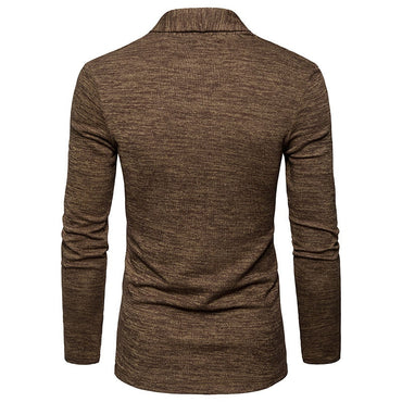 No buttons lapel slim fit Long sleeve knitted Sweater