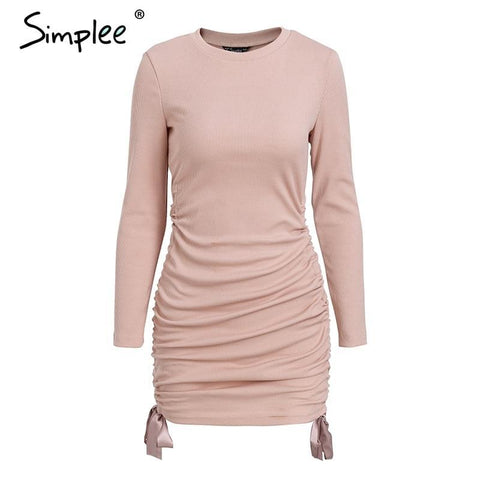 Drawstring pink knitted sweater dress