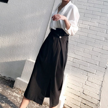 High Waist Bandage Side Split Midi Black Skirts