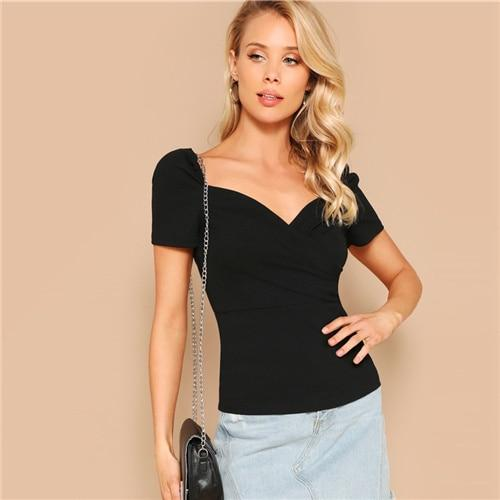 Black Surplice Wrap Sweetheart Solid Top T Shirt Women Summer Sweetheart Short Sleeve Minimalist Solid T-shirts Top
