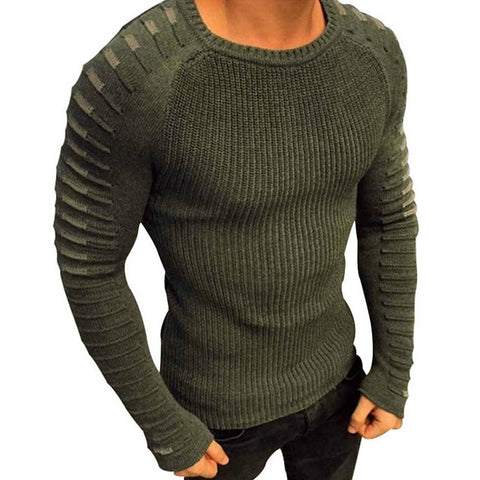 Casual Pullover Long Sleeve O-Neck Patchwork Knitted Solid Sweaters