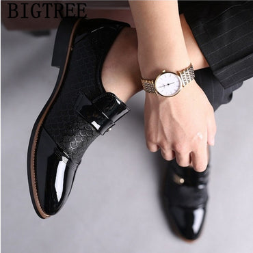 black formal shoes men loafers wedding dress shoes patent leather oxford shoes
