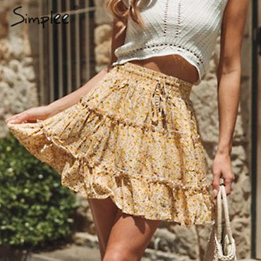 Elastic lace up high waist mini skirt