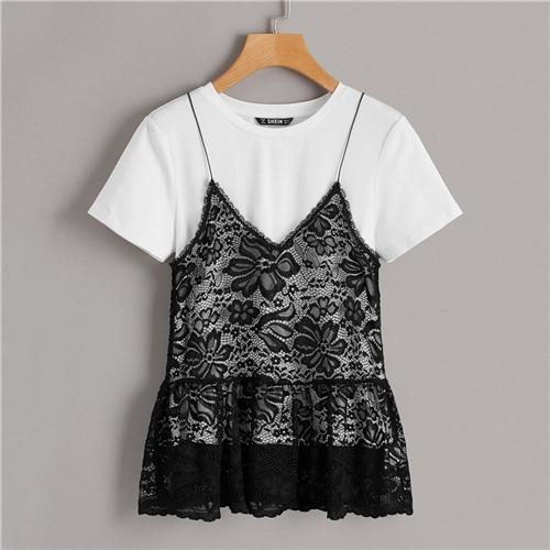 Boho Black and White 2 in 1 Floral Lace Ruffle Cami Tee Casual T shirt Women Summer Elegant O-Neck Short Sleeve Fashion Tshirts