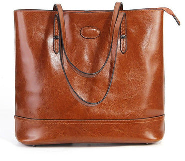Genuine Leather Fashion Brown  Shoulder Bag Large Capacity Shopping handbags