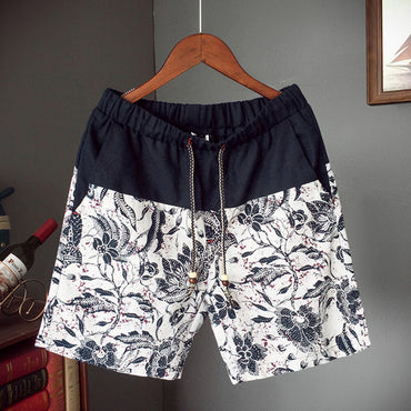 cotton and linen stitching  flowers printed beach shorts