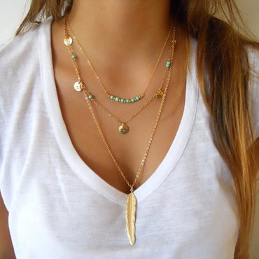 New Boho Simple Chain Gold Silver Color Tassel Beads Feather Pendant Multi Layer Necklace
