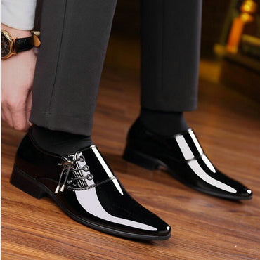 New Man Lace up shoes oxford height increasing men Black Shoes Breathable Formal Wedding pointed toe leather shoes