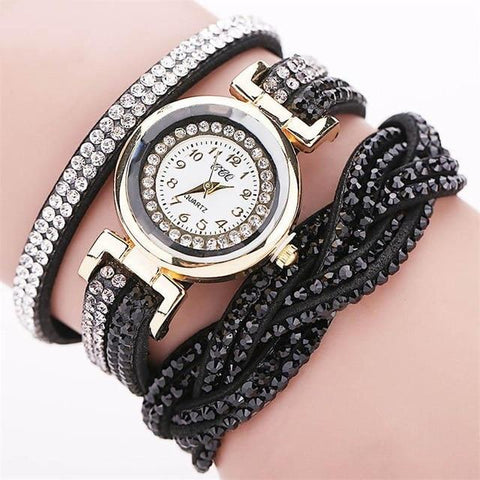 Crystal PU Leather Braided Strap Multilayer Wrap Wrist Watch