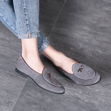 Fashion Tassel Suede Moccasins Shoes Leather Casual Loafers Slip On Oxfords Shoes