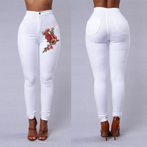 Emboridered Jeans Women Black White High Waist Skinny Jeans