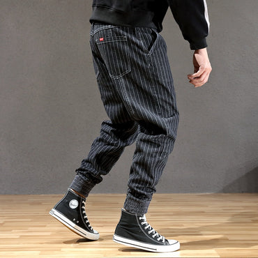 Stripe Designer Loose Fit Cargo Pants hombre Slack Bottom Streetwear Hip Hop Joggers Jeans
