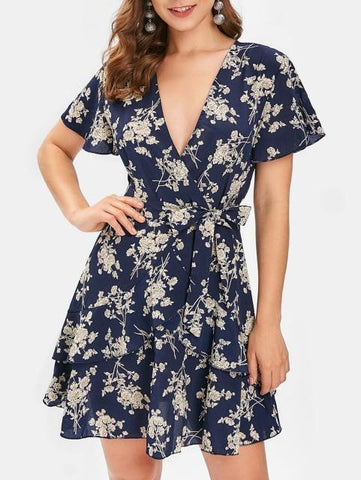 Floral Printed Summer Beach Dress Short Sleeve V-Neck Mini Boho Dress