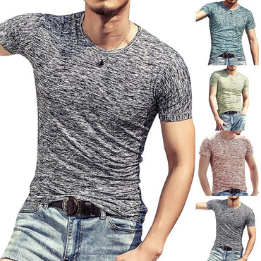 Short Sleeve Casual O Neck cotton slim Fitness Tshirt