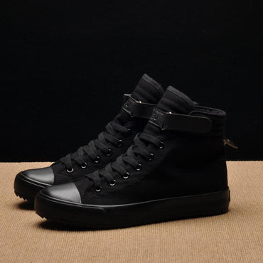 Casual Shoes Breathable Black High-top Sneakers Lace-up Canvas Shoes