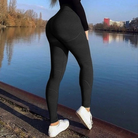 Push Up  Solid Fitness Gym Sports Leggings