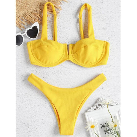 Solid color sexy two-piece off shoulder swimwear