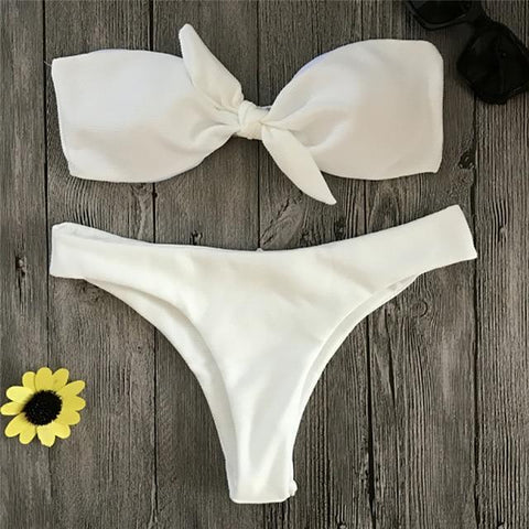 Ladies' two-piece solid color swimsuit with bow push up