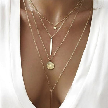 Fashion Multiple Layers Cross Necklaces Charm Gold Color Chokers Necklace Boho Collar Party Jewelry