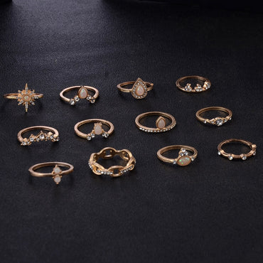 12 Pcs/set Bohemian Vintage Crown Water Drops Stars Geometric Crystal Ring