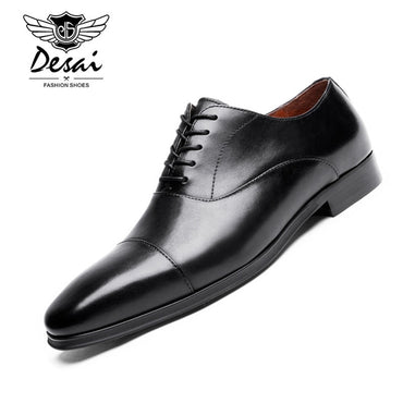 Brand Luxury Genuine Leather Men Formal Shoes Pointed Toe Top Quality Cow Leather Oxford Men Dress Shoes