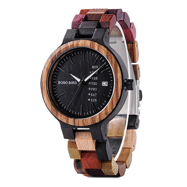 Watch Luxury Brand Wood Timepieces Week Date Display Quartz Watches