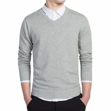 pullovers Simple style cotton knitted V neck sweater