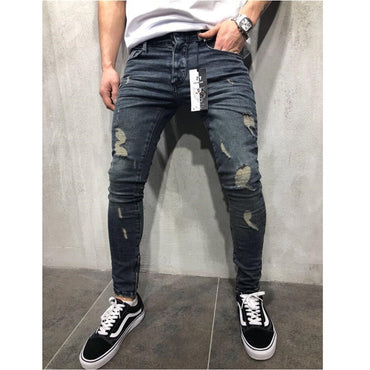 Stylish Ripped Slim Straight  Denim Trousers Jeans
