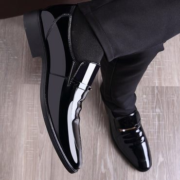 M Vintage Design Patent Leather Oxford Shoes  Dress Shoes Men Formal Shoes Pointed Toe Business Wedding Shoes
