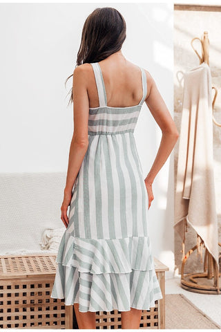 Vintage striped women long dress