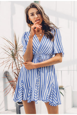 Simplee Vintage striped dress V neck