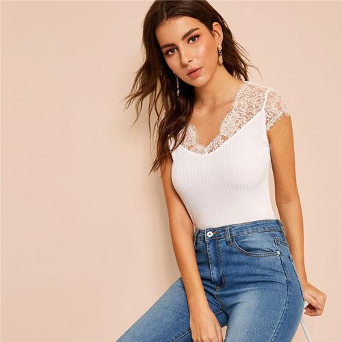 Lace Trim Slim Fitted Rib-Knit White T Shirt Women Classy Solid V Neck Cap Sleeve Stretchy Summer Shirt Ladies Tops