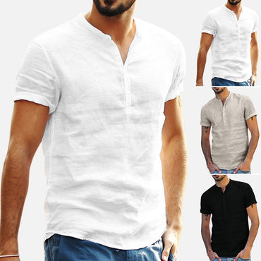 Baggy Cotton Linen Soid Color Short Sleeve Retro T Shirts
