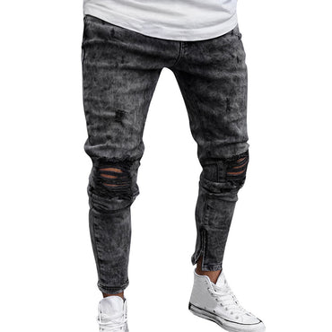 Denim Pants Distressed Frey Slim Fit Casual Trousers Stretch Ripped Jeans