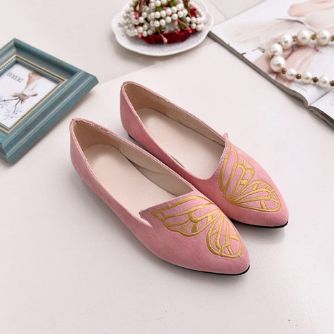 Embroidery Butterfly Suede Shoes Soft Slip-On Casual  Breathable Flat Shoes