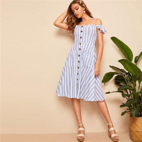 Blue Off Shoulder Shirred Back Buttoned Striped Midi Dress