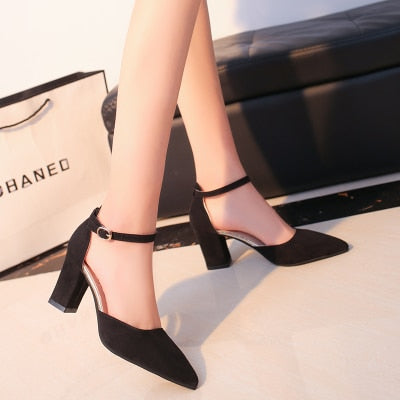 Flock pointed  sexy high heels shoes