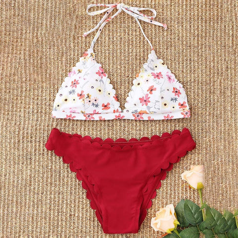 Sexy Print Push-Up Padded Bra Beach Bikini Set