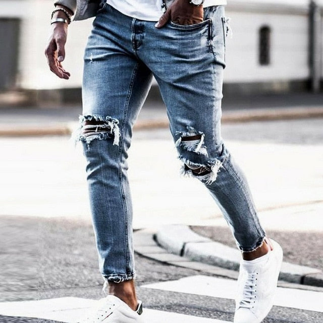 New Skinny Jeans men Streetwear Destroyed Ripped Jeans