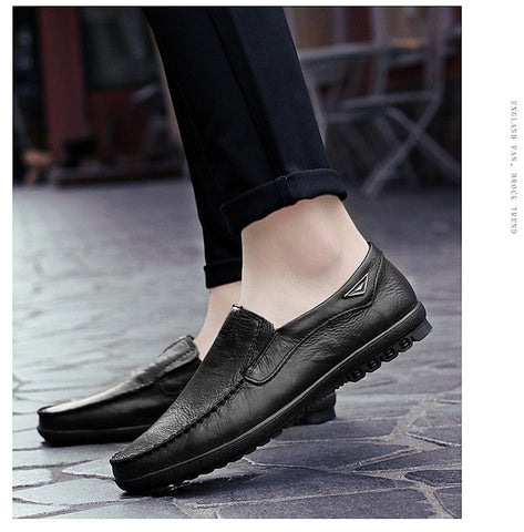 Genuine Leather Mens Moccasin Shoes Black Men Flats Breathable Casual Italian Loafers Comfortable Shoes