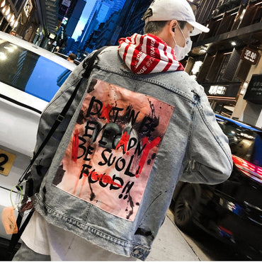 Graffiti Picture Printed Cowboy Denim jacket
