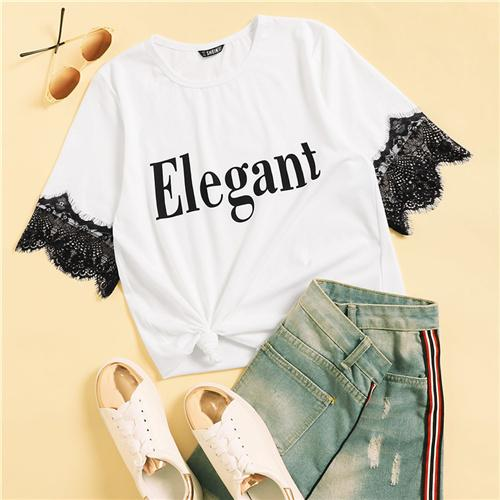 Lace Insert Cuff Letter Print Tee  Casual Summer Women Fashion Tshirt Comfortable White Short Sleeve Round Neck Top
