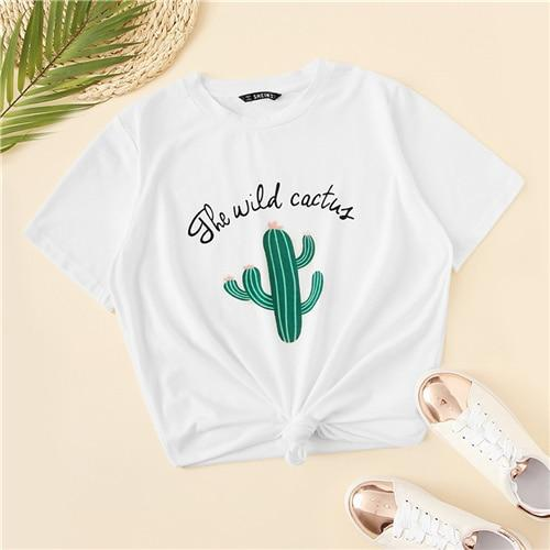 White Cactus and Letter Print Top Casual T Shirt Women  Summer Short Sleeve Round Neck Stretchy Basics Cute Fashion Tshirts