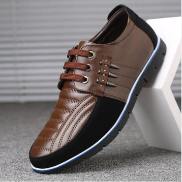 genuine leather shoes High Quality Elastic band Fashion design Solid Tenacity Comfortable Men's shoes