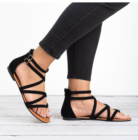 Casual Rome Gladiator Sandals  Cross Tied Flat Sandals