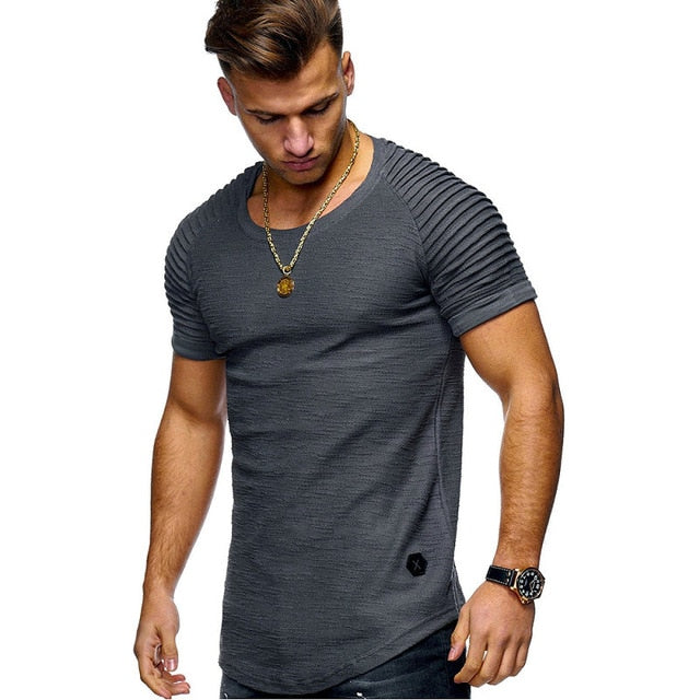Hot Selling  Sleeve Men T Shirt Cotton Blended Solid Mens T-shirt