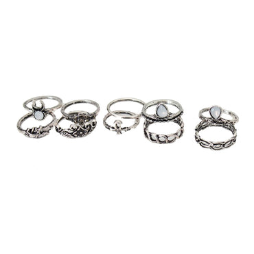 10pcs/Set Antique Gold Silver Moon Elephant Animal Fower Crystal Ring